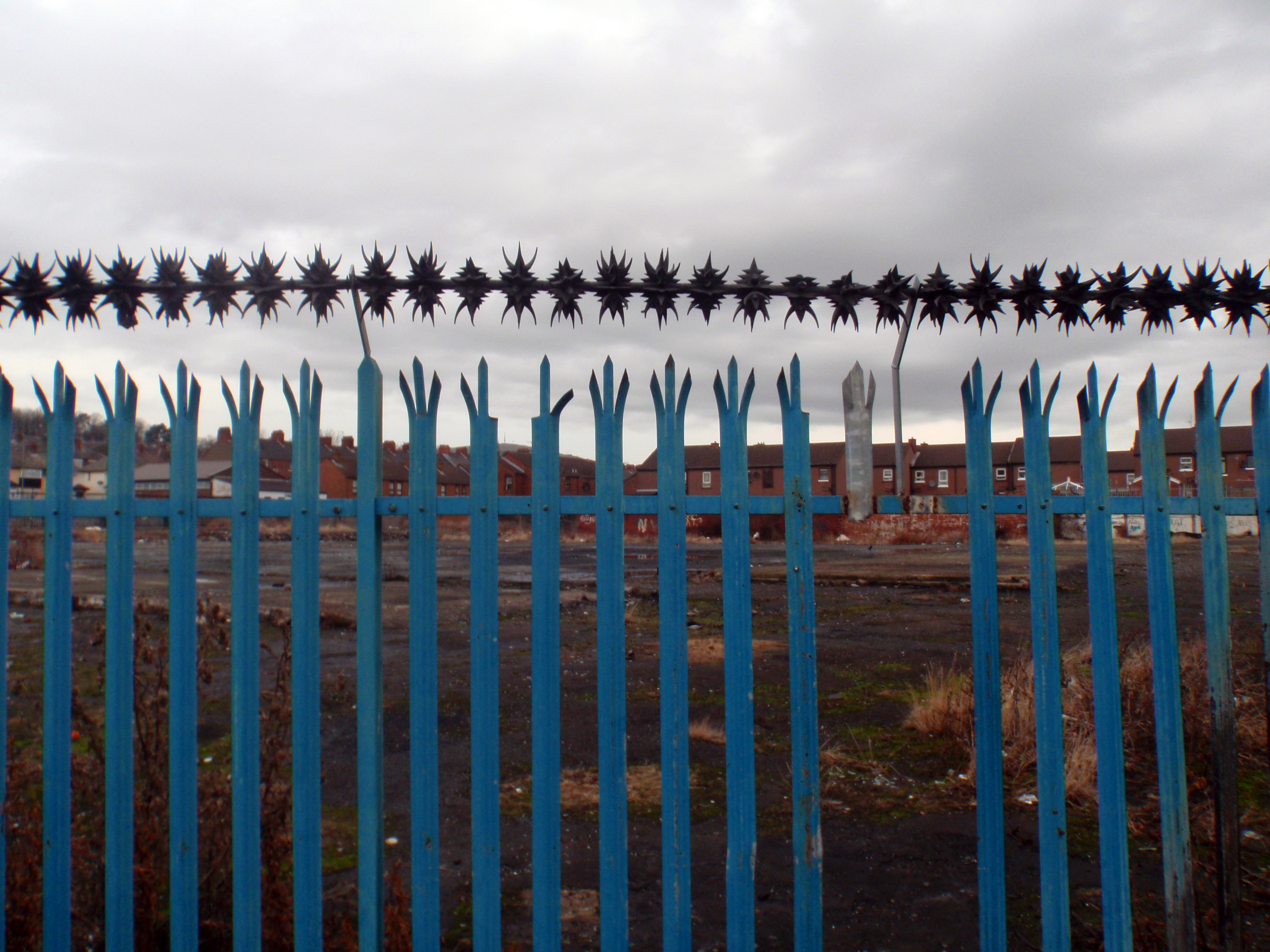 Sectarian fence on interface in working-class district of Belfast