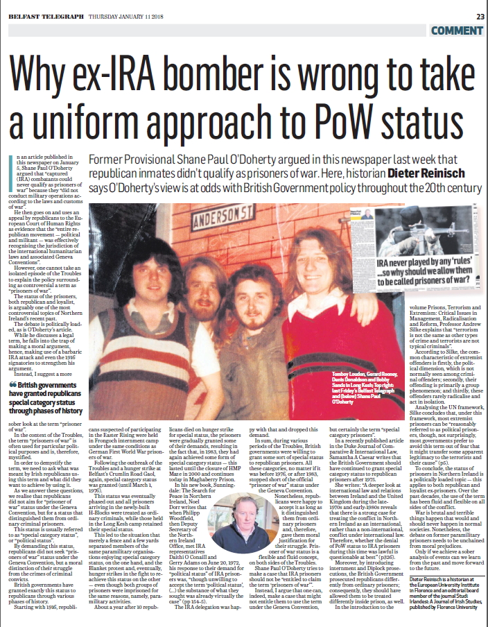 My article on the page 23 of the Belfast Telegraph from 11 January 2018.