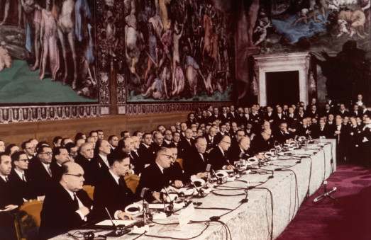 Unknown. 25 March 1957, the signing ceremony of the Treaty of Rome which enshrines in its preamble the objective of an ever closer Union.