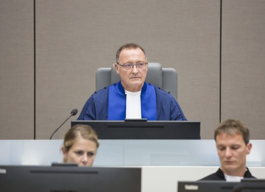 ICC-CPI. Pictured here: Judge Bertram Schmitt at the delivery of the judgement in the Bemba et al case on 19 October 2016.